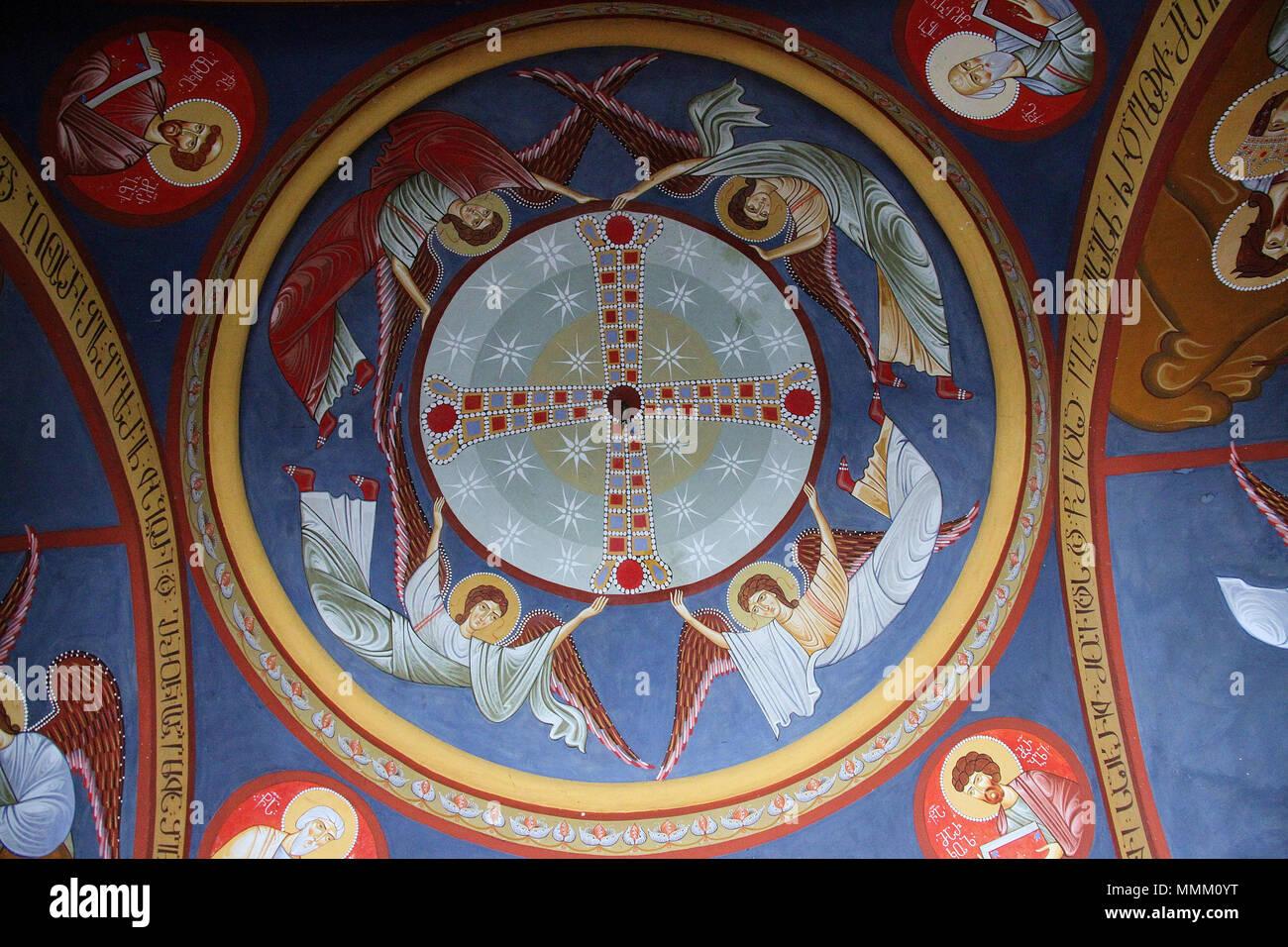 Lackierter Innenraum von St. Davids Kirche in Tiflis Stockbild