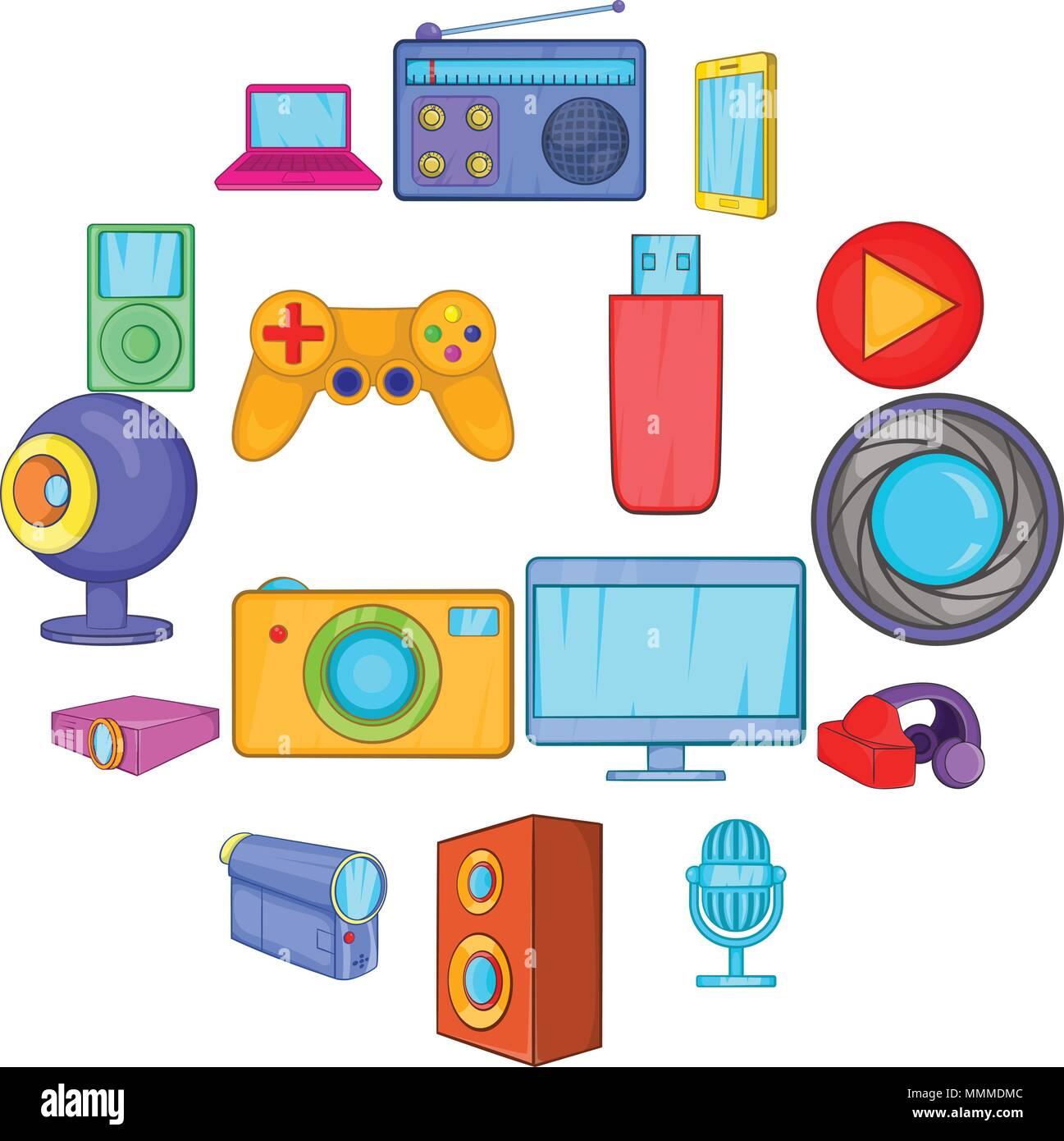 Nieuw Multimedia-Icons Set, Cartoon-Stil Vektor Abbildung - Bild OK-53