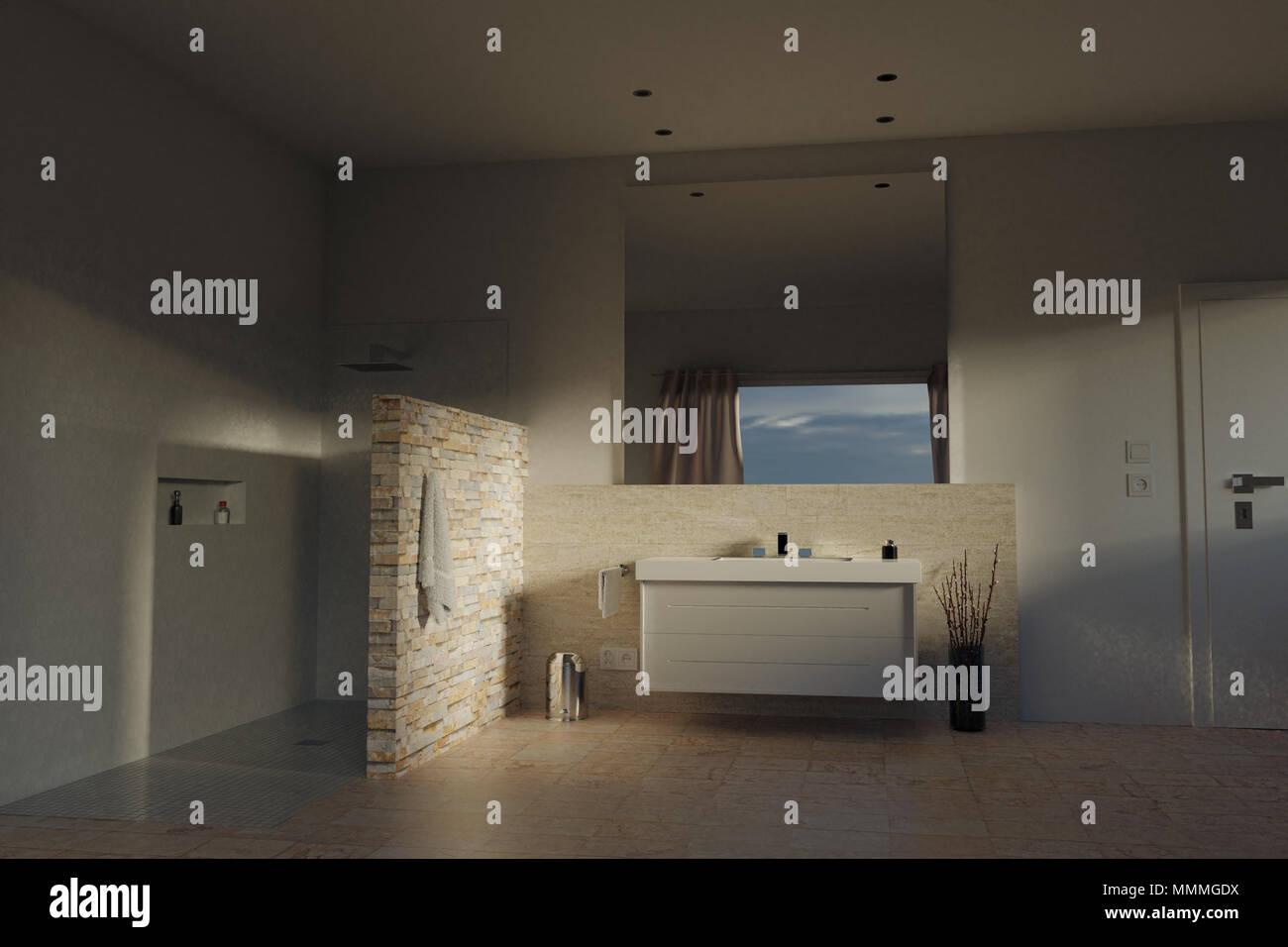 3D Rendering Des Modernen Bad Mit Beige Steine Und Fach Dusche