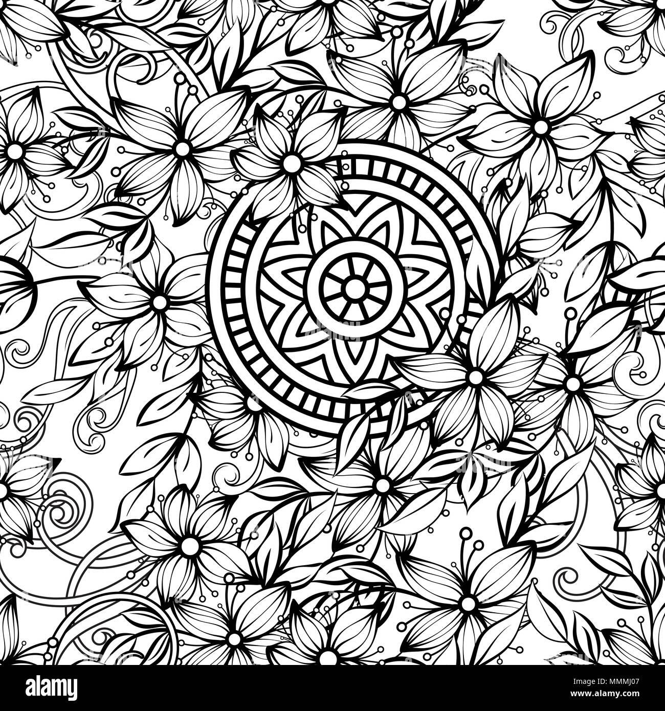 Florale nahtlose Muster in Schwarz und Weiß. Nach Malbuch Seite mit Blumen und Mandalas. Hand Vector Illustration gezeichnet. Doodles Hintergrund Stockbild