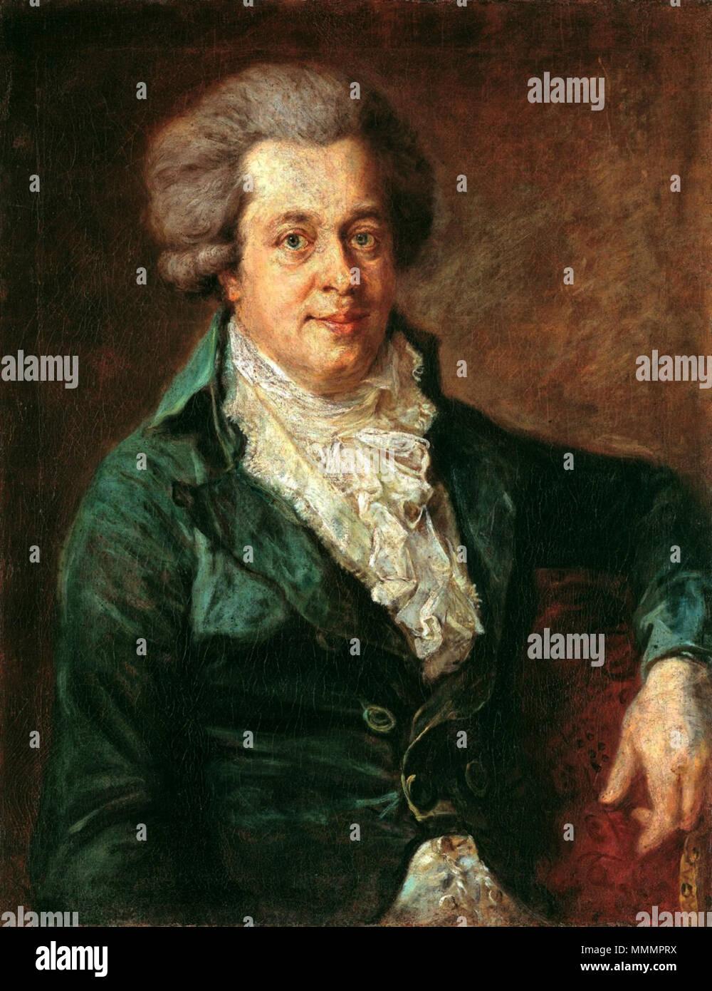 """. English: Porträt von Wolfgang Amadeus Mozart (1756-1791); Johann Georg Edlinger hat das letzte Porträt des berühmten Komponisten gemalt. 1756 wurde Mozart in Salzburg geboren und starb mit 34 Jahren in Wien. Zu seinem 249. Geburtstag wurde das Bild 2005 der ganzen Welt als Mozart-Porträt vorgestellt; es war schon 70 Jahre im Besitz der Gemäldegalerie der Staatlichen Museen Berlin, ehe man feststellte, dass es Mozart darstellt. Für eine Diskussion der Authentizität, siehe Datei: Edliner Mozart.jpg (auf Englisch) und de: Johann Georg Edlinger # Der"""" Edlinger-Mozart"""". Vermutlich 1790 in München (Ge Stockbild"""