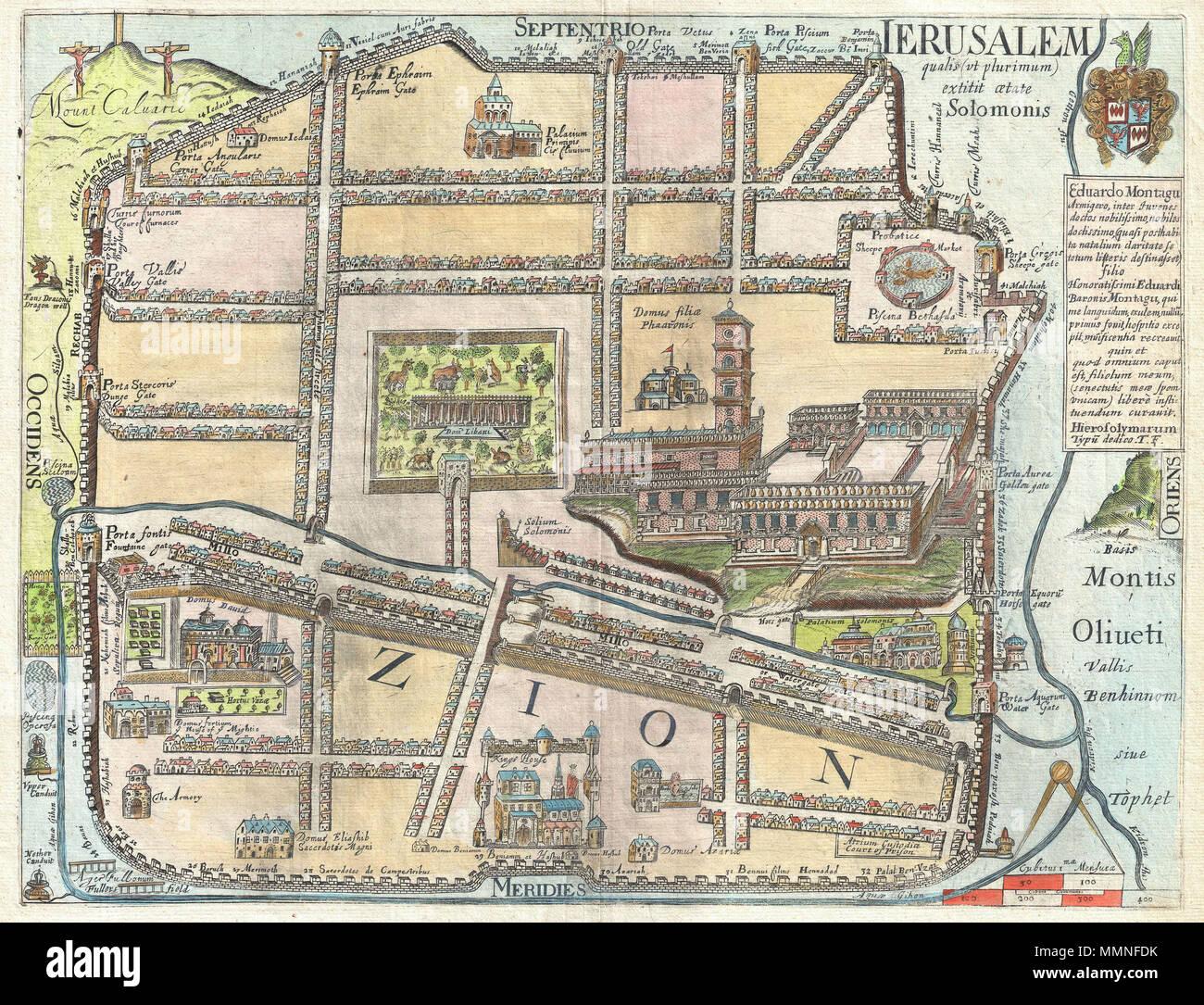 Jerusalem Karte Heute.Englisch Eine Ausserst Seltene Und Faszinierende Insgesamt