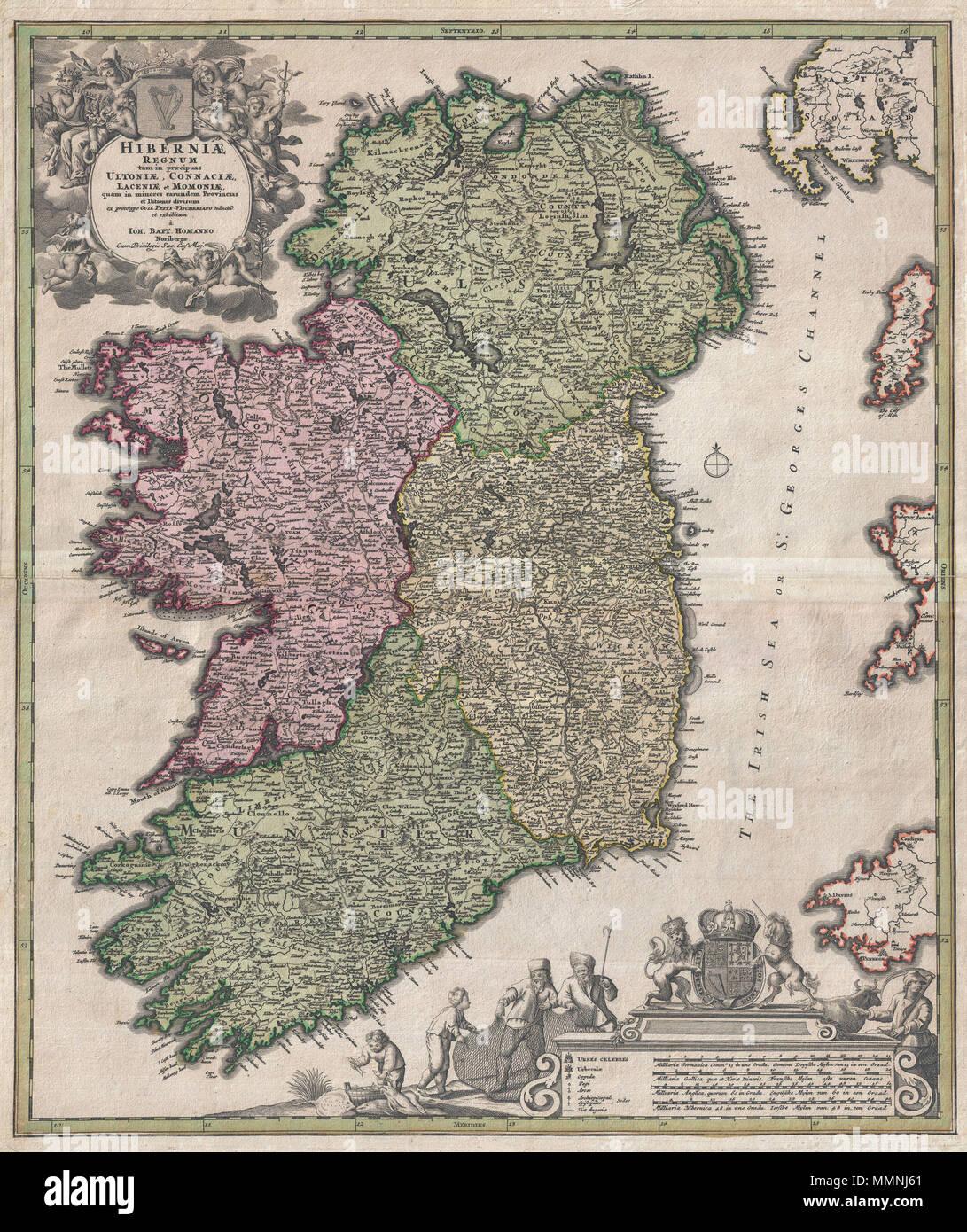 Englisch Eine Ikonische C 1716 Karte Von Irland Von Johann Baptist