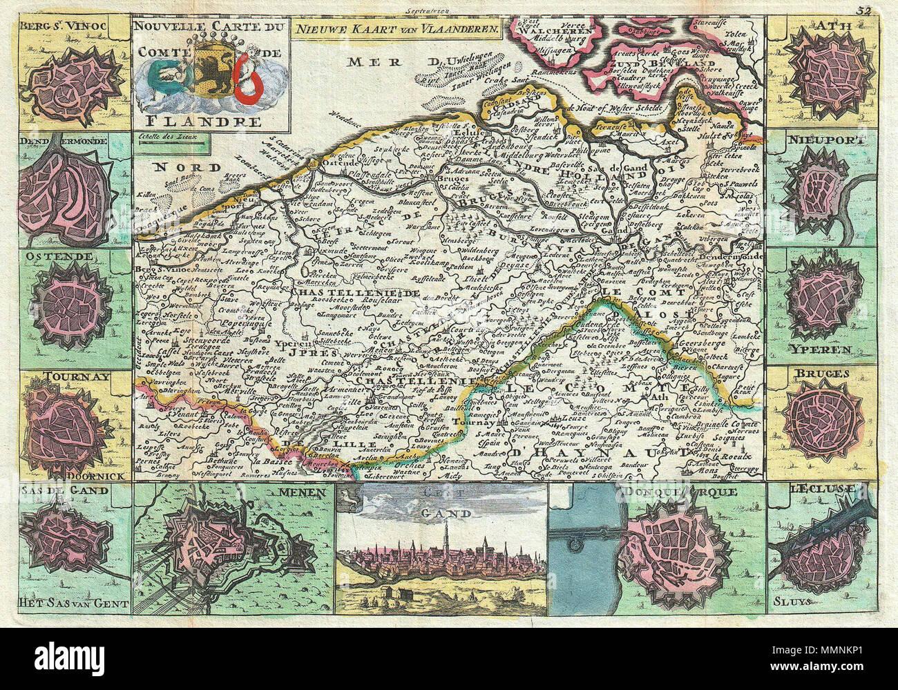 Englisch Eine Atemberaubende Karte Von Flandern Italien Erstmals