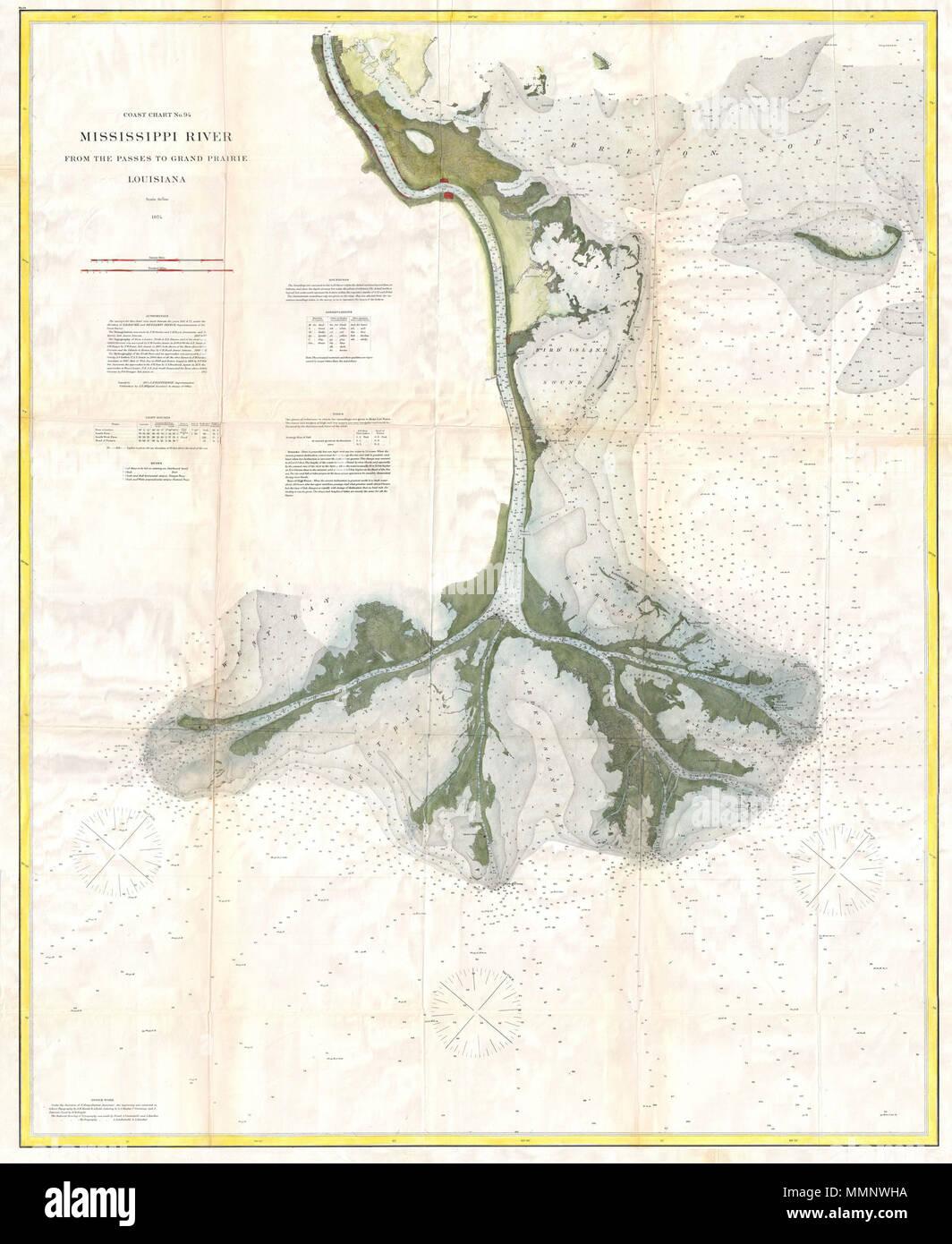 Englisch: 1874 Karte von Ende des Mississippi River Delta ...