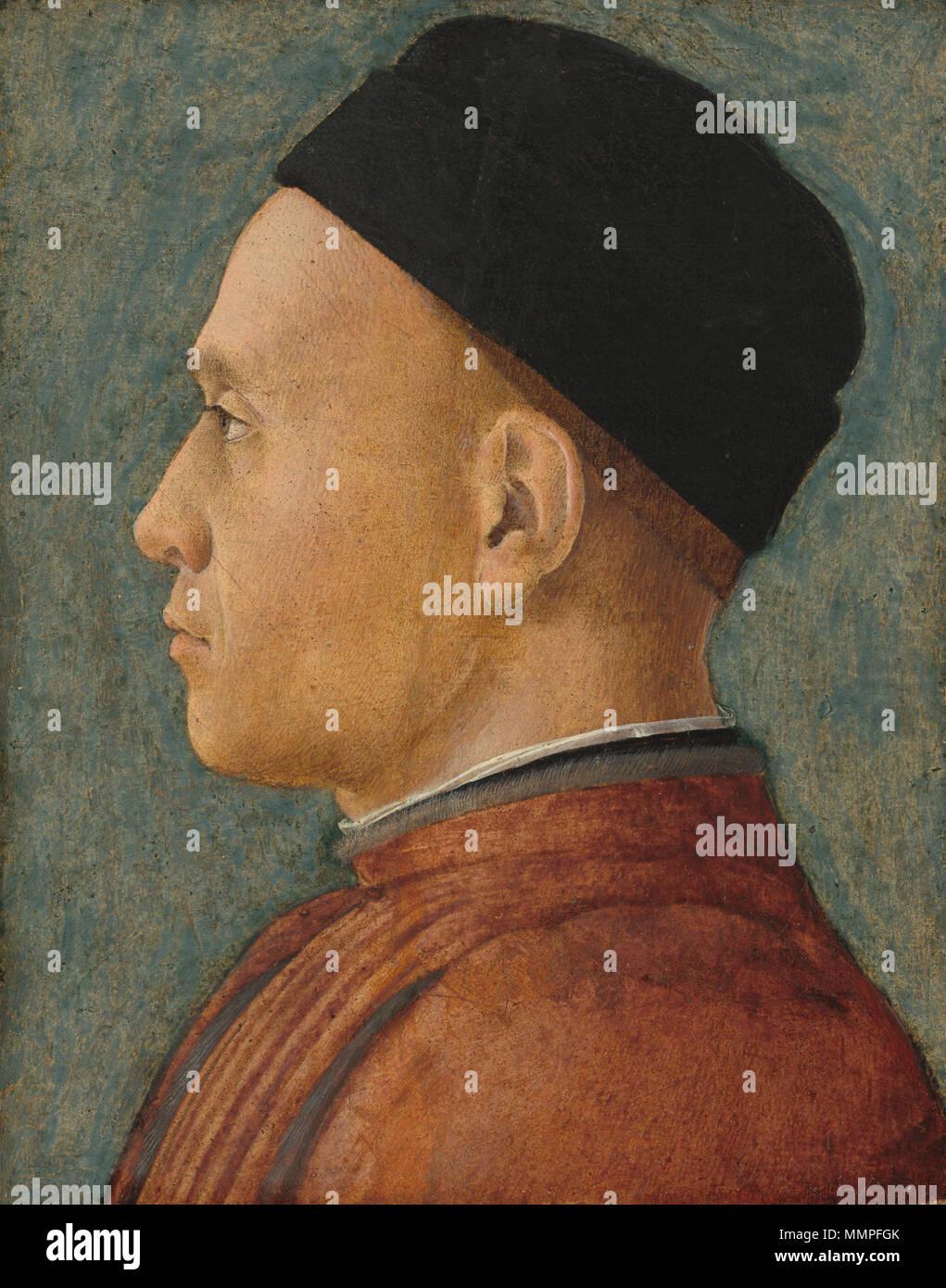 Malerei; Tempera auf Hartplatten aus Segeltuch von Panel übertragen; gesamt: 24,2 x 19,1 cm (9 1/2 x 7 1/2 in.) gerahmt: 37,6 x 32,5 x 3,2 cm (14 13/16 x 12 13/16 x 1 1/4 in.); Andrea Mantegna - Portrait d'Homme Stockbild