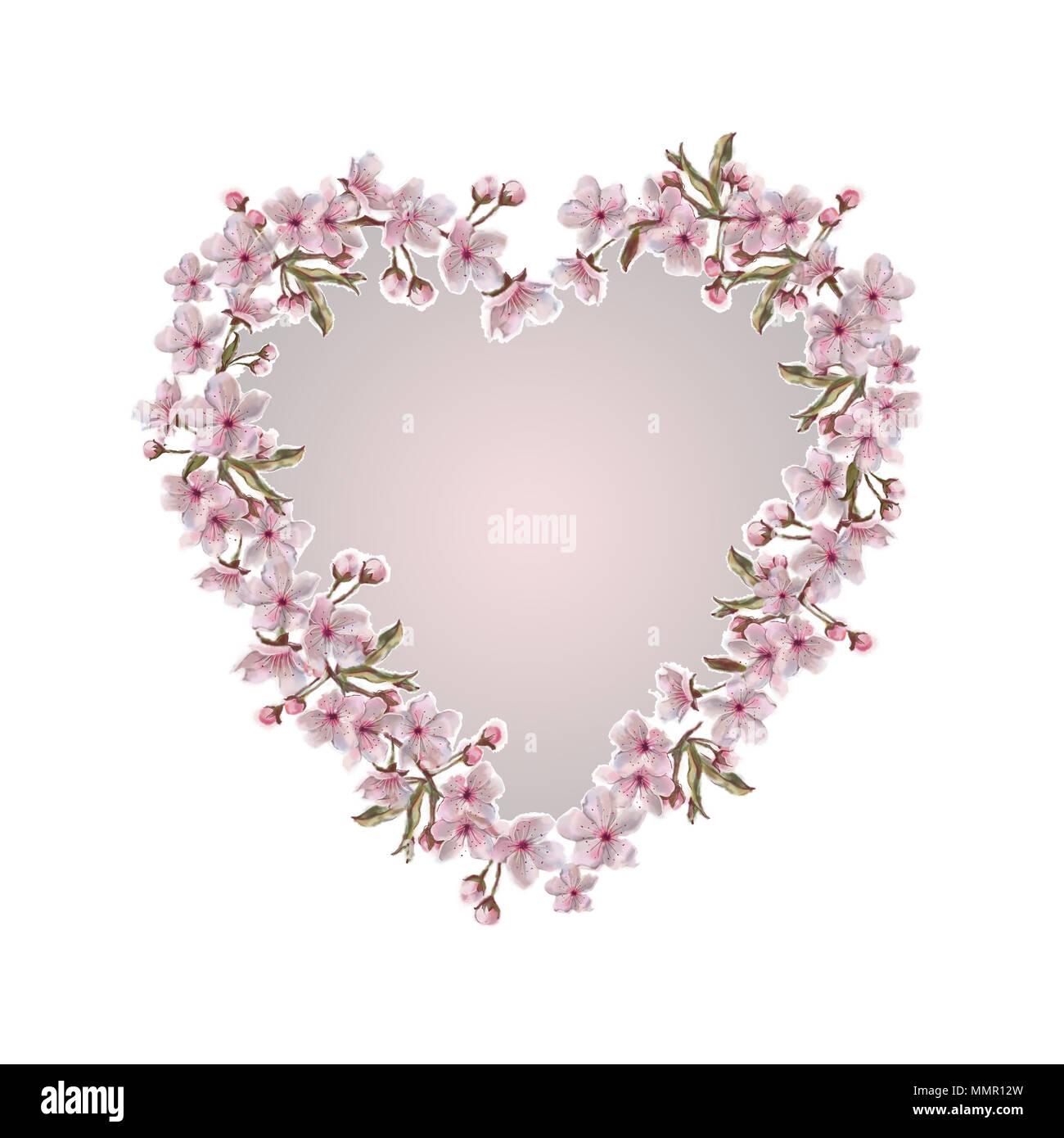 Frühling Blumen Kränze Frames mit Rosa Kern Hintergrund. Romantische ...