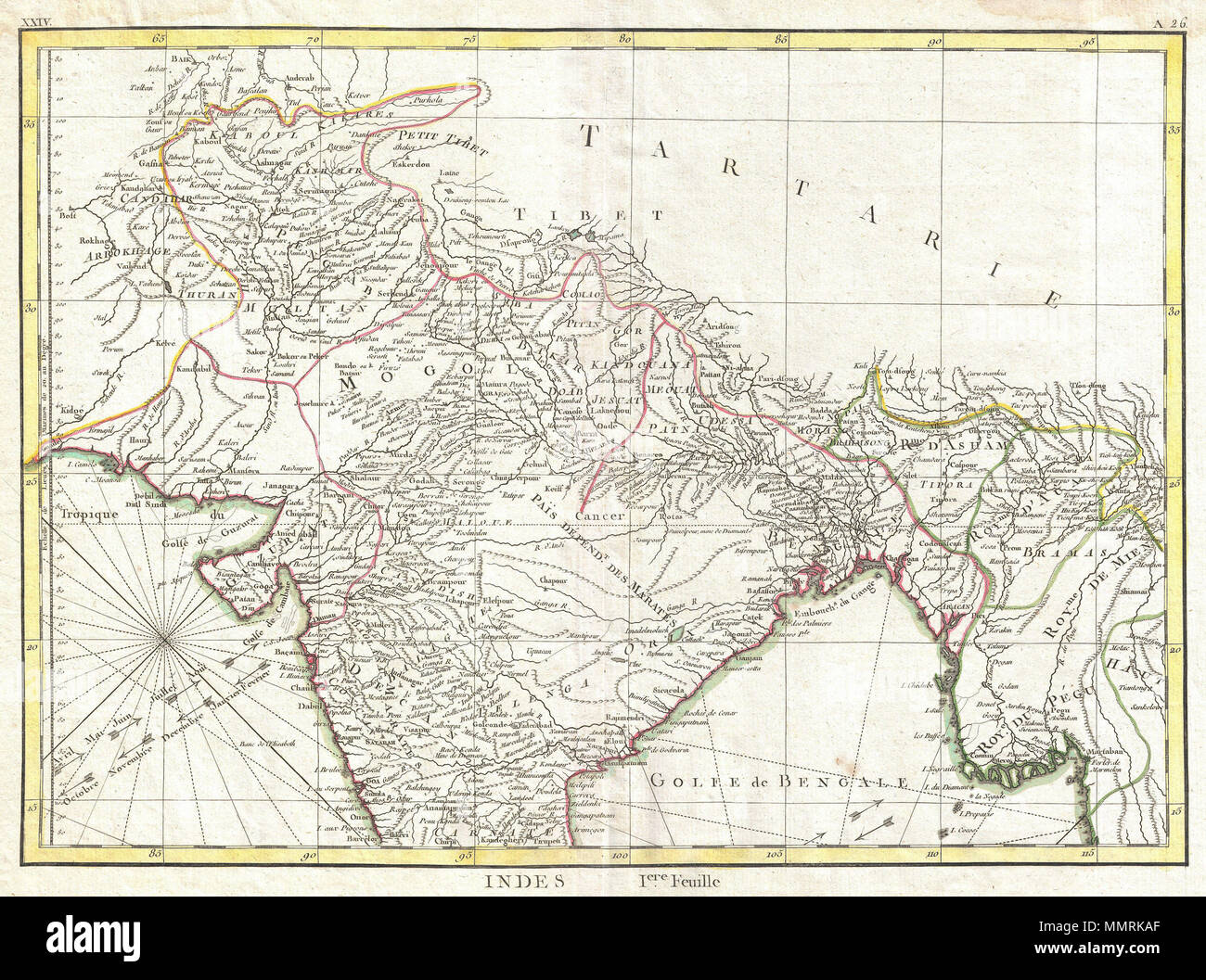 Bonne Map Of Northern India Stockfotos & Bonne Map Of Northern India ...