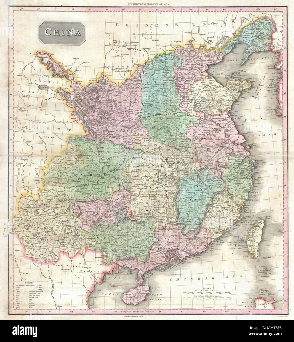 Chinesische Mauer Karte.Englisch John S Pinkerton Sehr Dekorative Karte Von China
