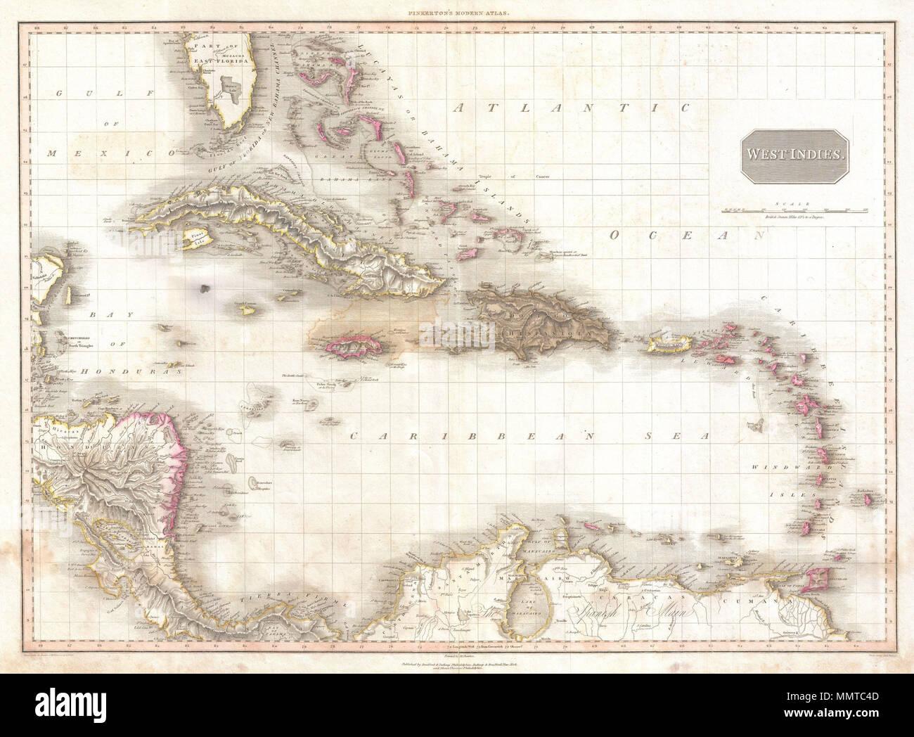Englisch: Außergewöhnliche großformatige Karte der West Indies 1818 ...