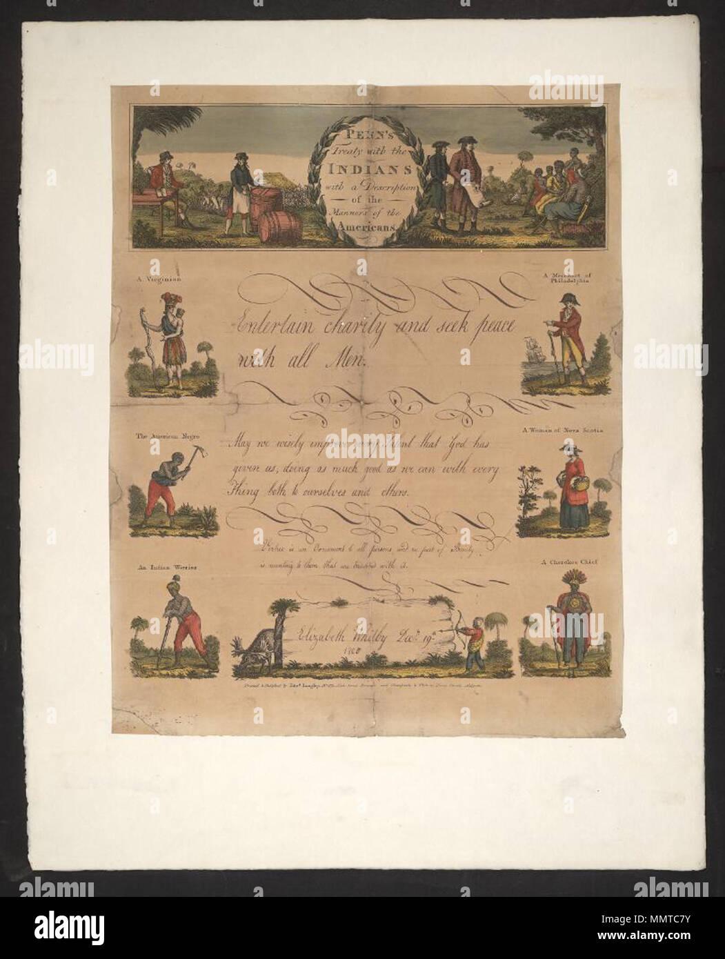 Schreiben Leer Von 1742 Mit Dem Titel Penn Vertrag Mit Den Indern