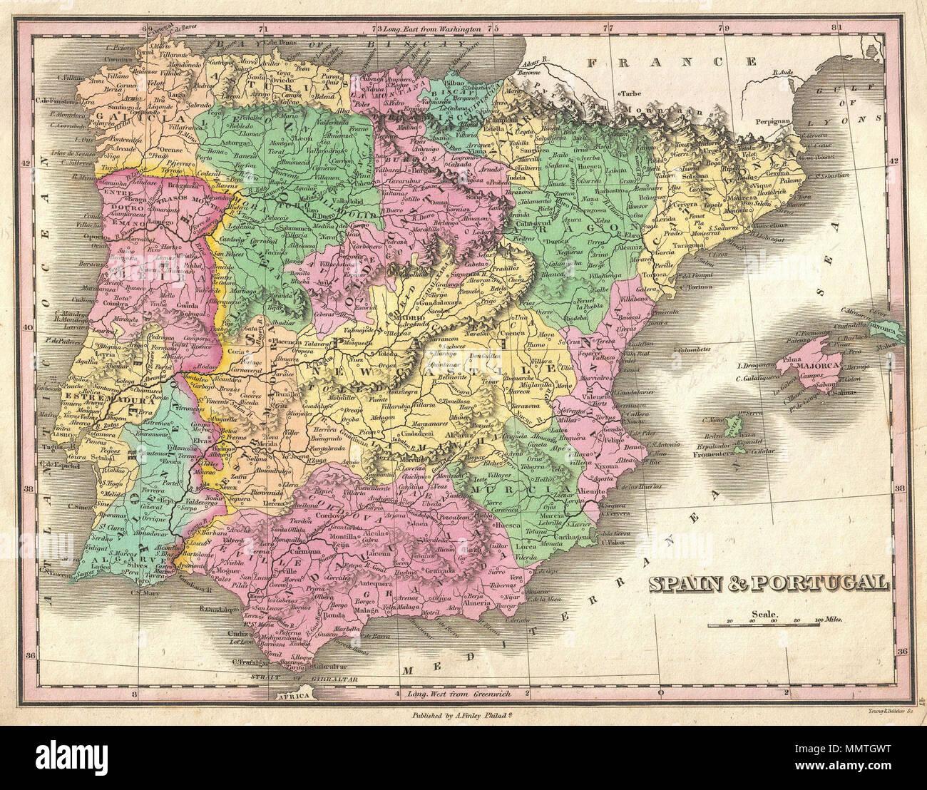 Meerenge Von Gibraltar Karte.Englisch Ein Wunderschones Beispiel Von Finley S Karte 1827