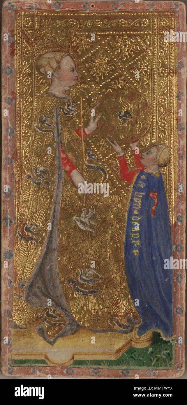 Englisch Königin Der Münzen Diamanten Von Den Visconti Tarot Deck