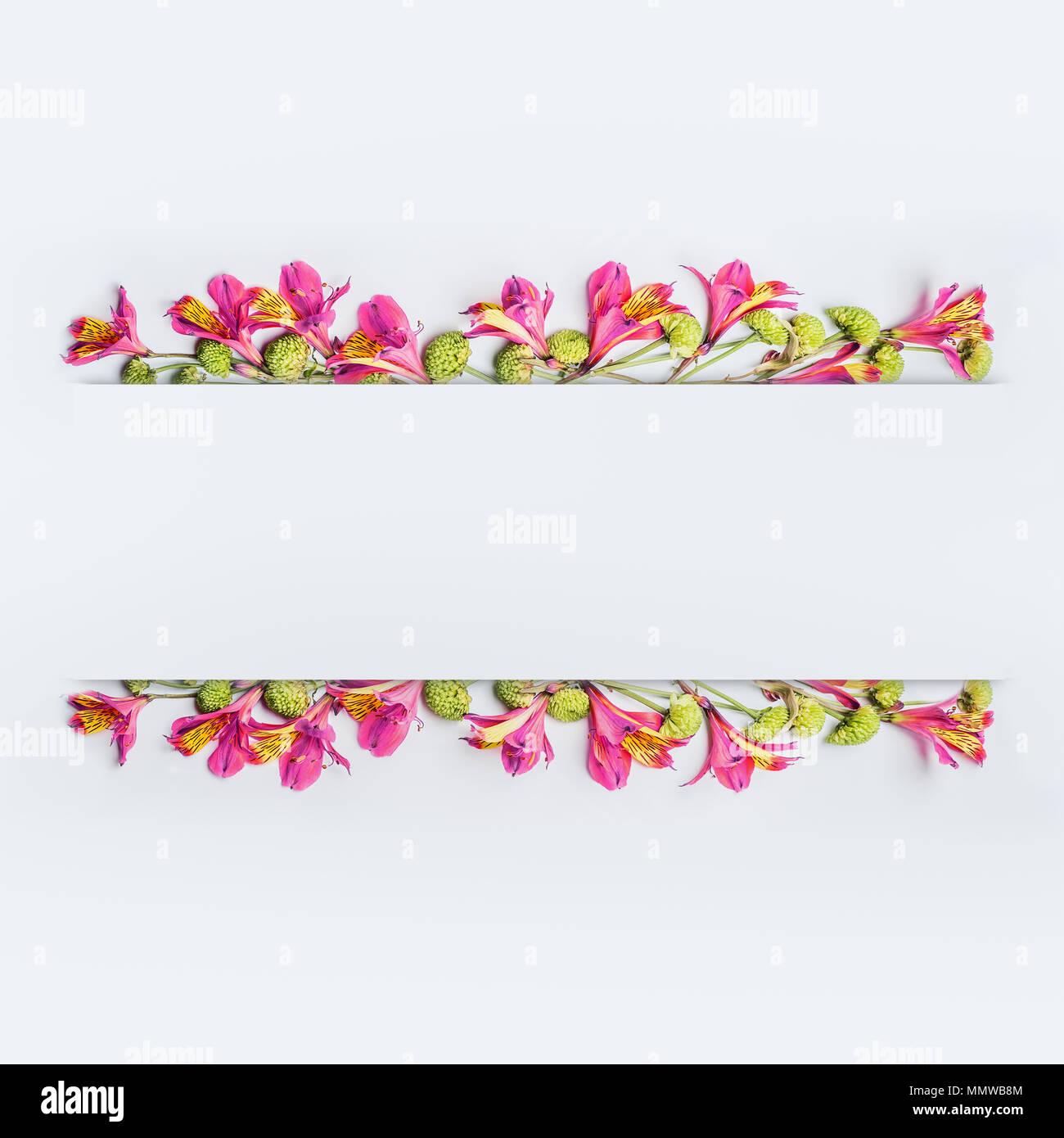 Creative floral design Rahmen, Rand- oder Banner Layout mit Rosa und ...