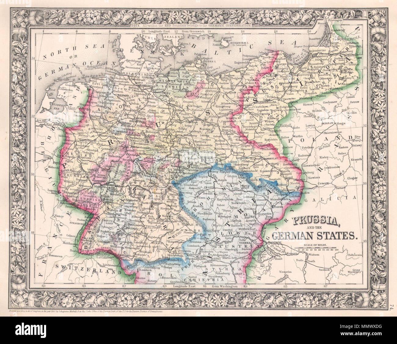 Englisch Ein Schones Beispiel Fur S A Mitchell Jr S 1864 Karte
