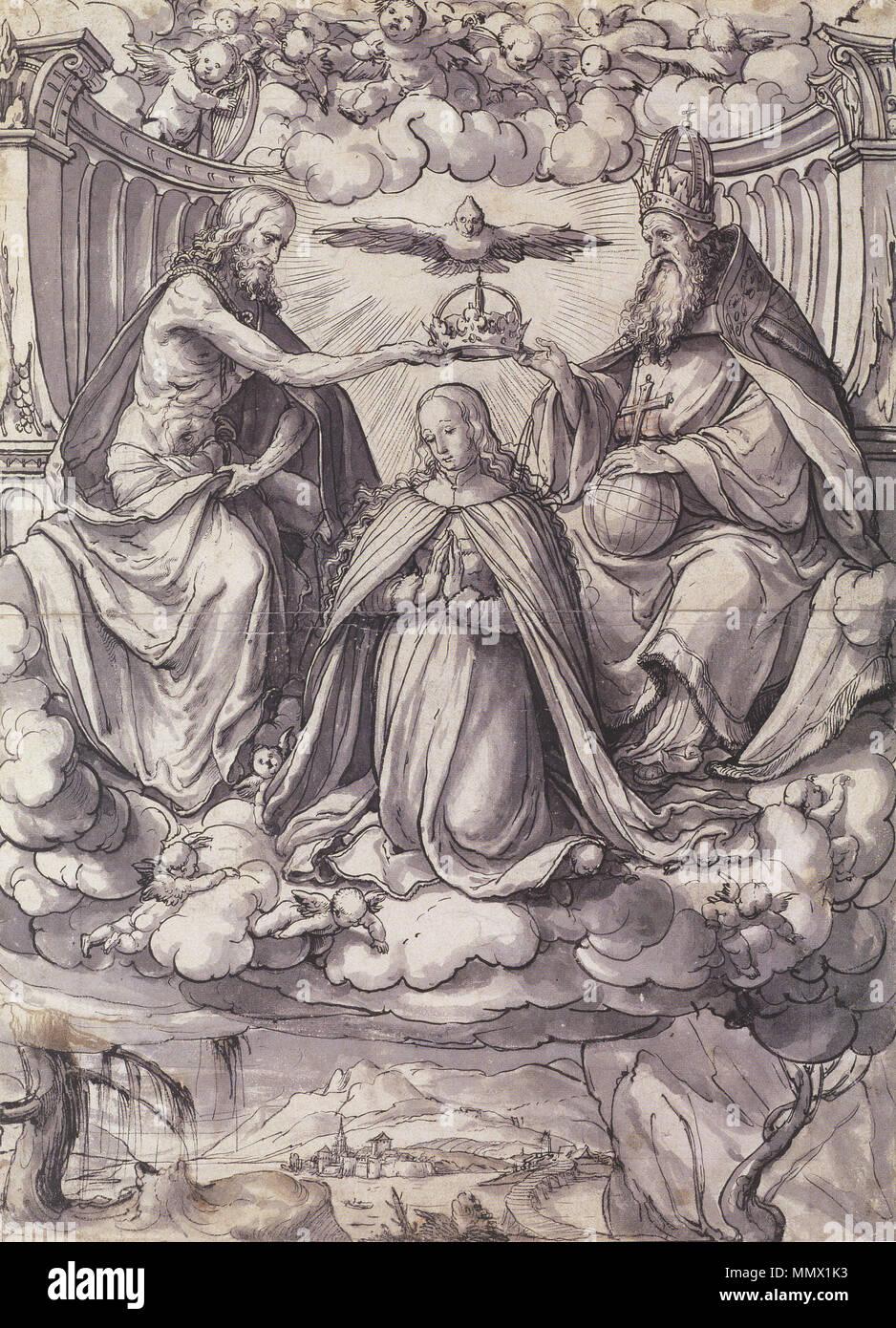 Englisch Entwurf Für Ein Glasfenster Mit Der Krönung Der Jungfrau