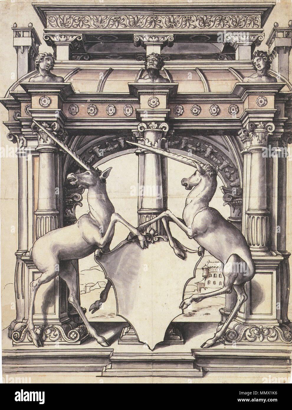 Englisch Entwurf Für Ein Glasfenster Mit Zwei Einhörner Feder Und