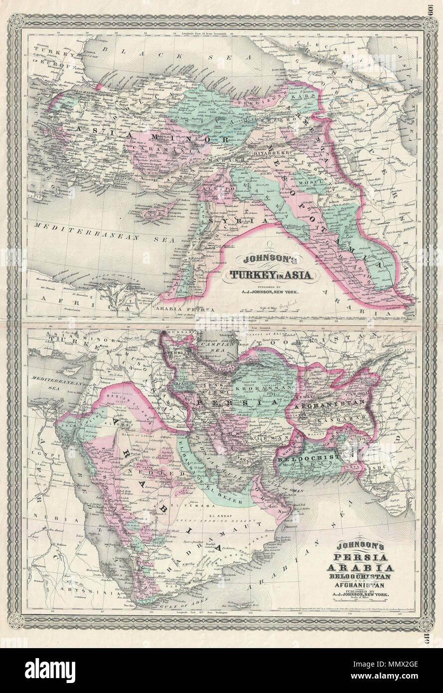 Karte Naher Osten Israel.Englisch Dies Ist A J Johnson 1870 Karte Von Dem Was Im