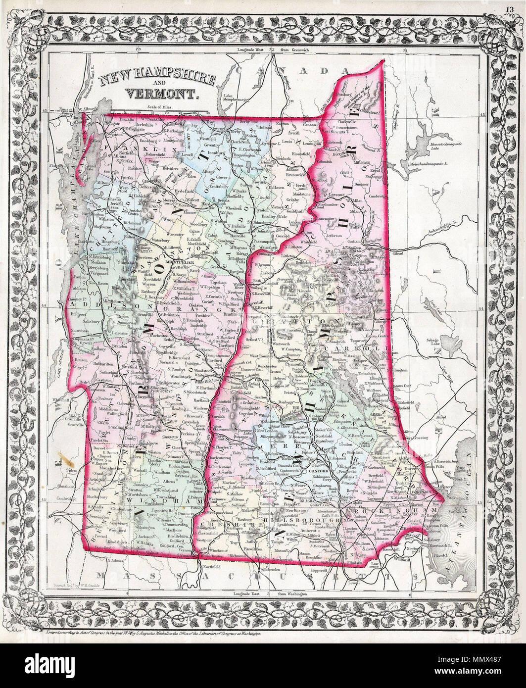 Englisch: Diese Hand farbige antike Karte von Vermont und ...
