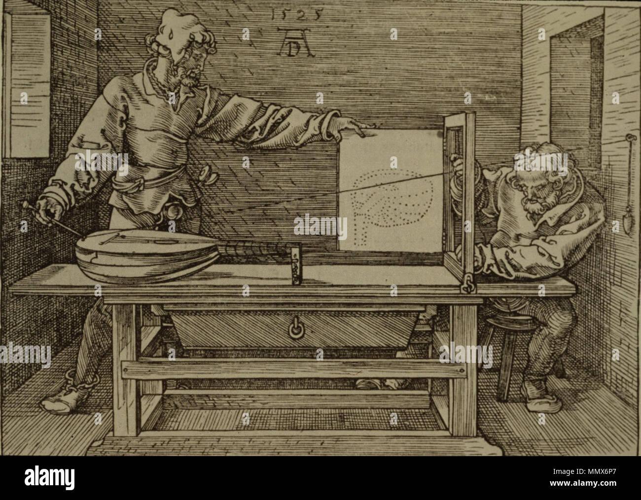 Dürer - Mann Zeichnung eine Laute Stockbild