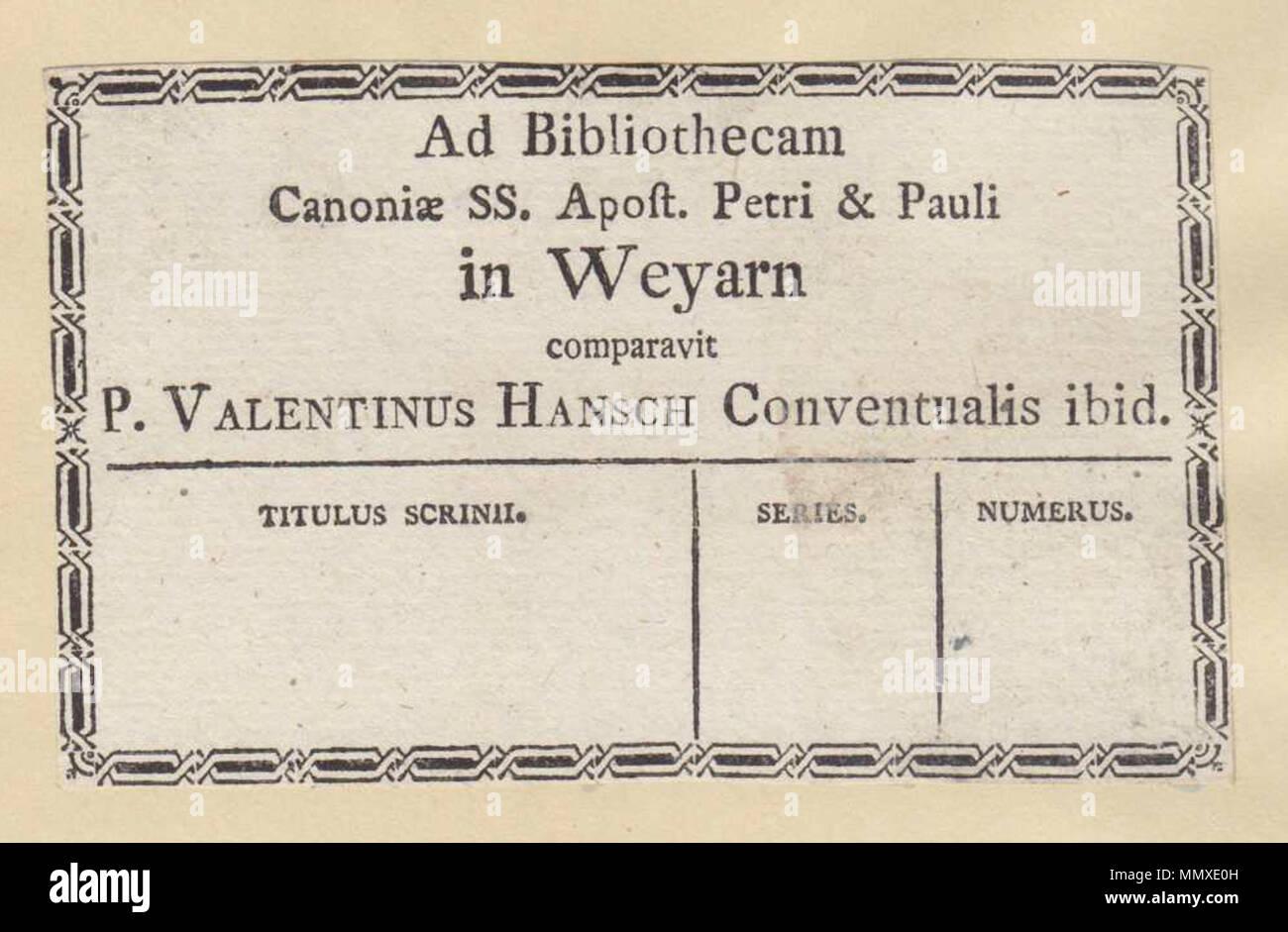 . Ex Libris, Kloster Weyarn, Valentin Hansch. von 1800. Unbekannte ex-libris Weyarn, 01. Stockbild