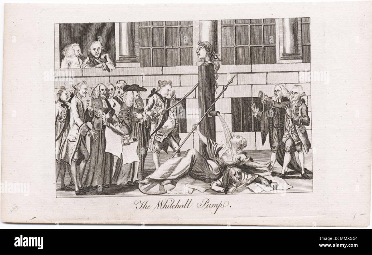 . Titel: Die Whitehall Pumpe [Grafik]. Veröffentlicht: [London: n. n., April 1774] Beschreibung: 1 Drucken auf Bütten: Ätzen & Gravieren; Platte Mark 12,1 x 16,3 cm., auf Blatt 13 x 21 cm. Thema: Rechnungen: Fünf unerträglich wirkt - Anspielung auf Boston Tea Party -- Britannia (symbolischen Charakter) -- Amerika als Indianer -- Wasser pumpen. Themen (Bibliothek des Kongresses): Georg III., König von Großbritannien, 1738-1820 - Karikaturen und Cartoons. Wilkes, John, 1725-1797 - Karikaturen und Cartoons. Norden, Friedrich, Herr, 1732-1792 - Karikaturen und Cartoons. Bute, John Stuart, Graf von, 1713-1792 - Ca Stockbild