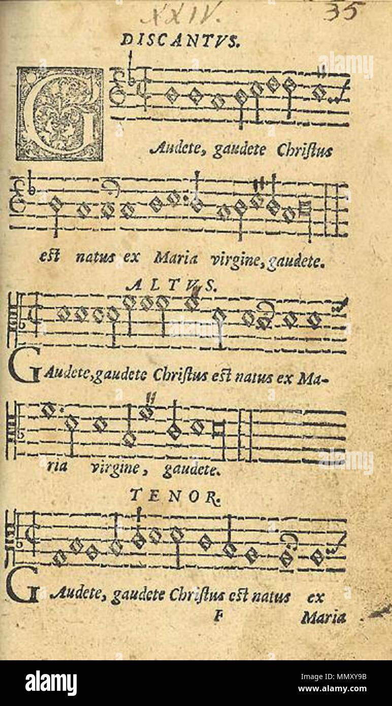 Englisch auf der ersten Seite Gaudete in der ursprünglichen ...