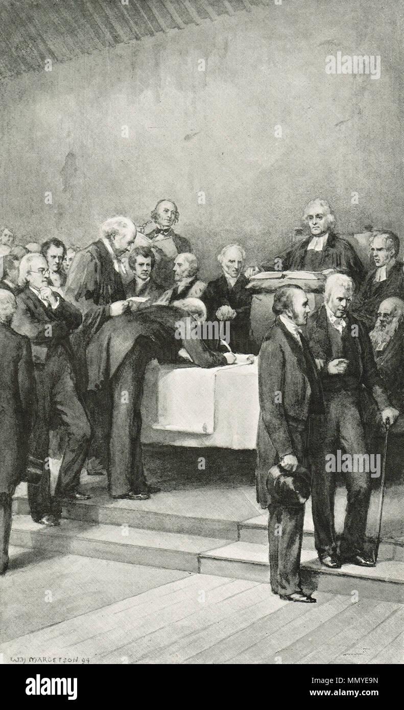 Die Unterzeichnung der Gründungsurkunde der Abfindungszahlung, tanfield Halle Canonmills, Am 18. Mai 1843, als die Unterbrechung von 1843 oder die Unterbrechung der Montage bekannt. Eine Spaltung innerhalb der Kirche von Schottland, die zur Bildung der freien Kirche von Schottland. Stockbild