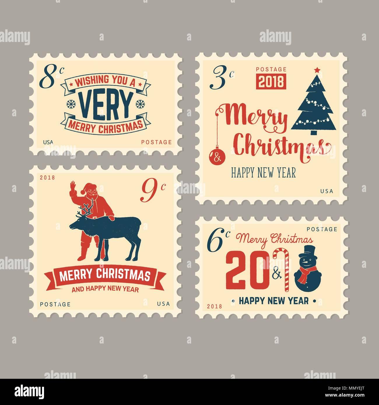 frohe weihnachten und ein gl ckliches neues jahr 2018 retro briefmarke mit dem weihnachtsmann