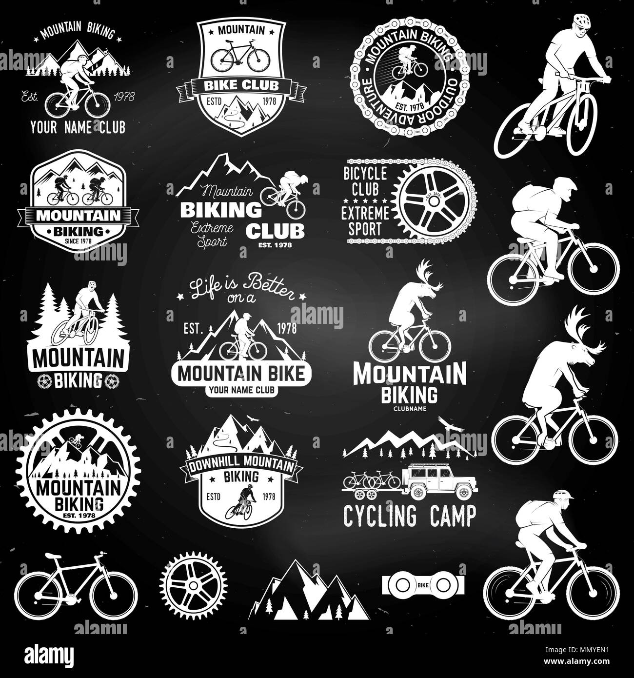 T Shirt Design For Clubs | Satz Von Mountain Bike Clubs Sammlung Vector Illustration Konzept