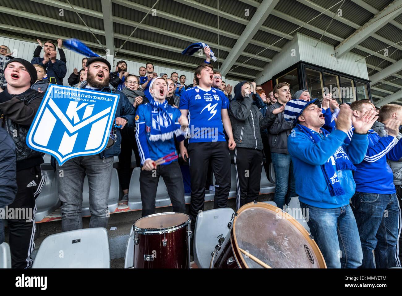 Anhänger der Klaksvik Team im Fußball-Stadion, Torshavn, Streymoy Island, Färöer Inseln Stockbild