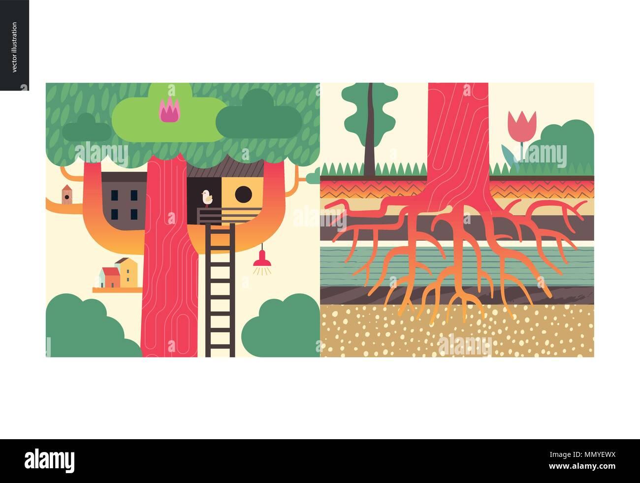 Einfache Dinge - Farbe - Flachbild cartoon Vector Illustration von ...