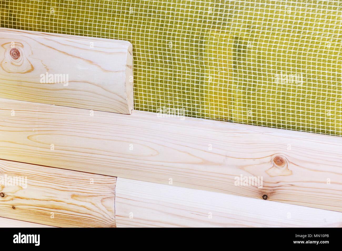 Bau Neuer Gebäude Installation Von Holz Verkleidung