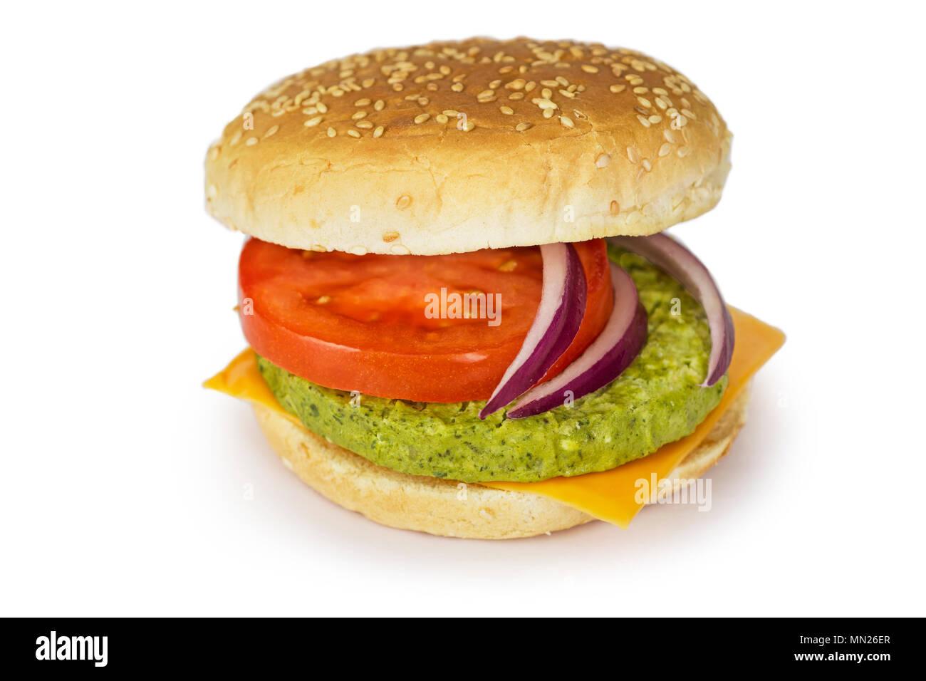 Vegetarisch Veggie Burger, Patty mit grünen Bohnen, Erbsen, Spinat, Brokkoli Stockbild