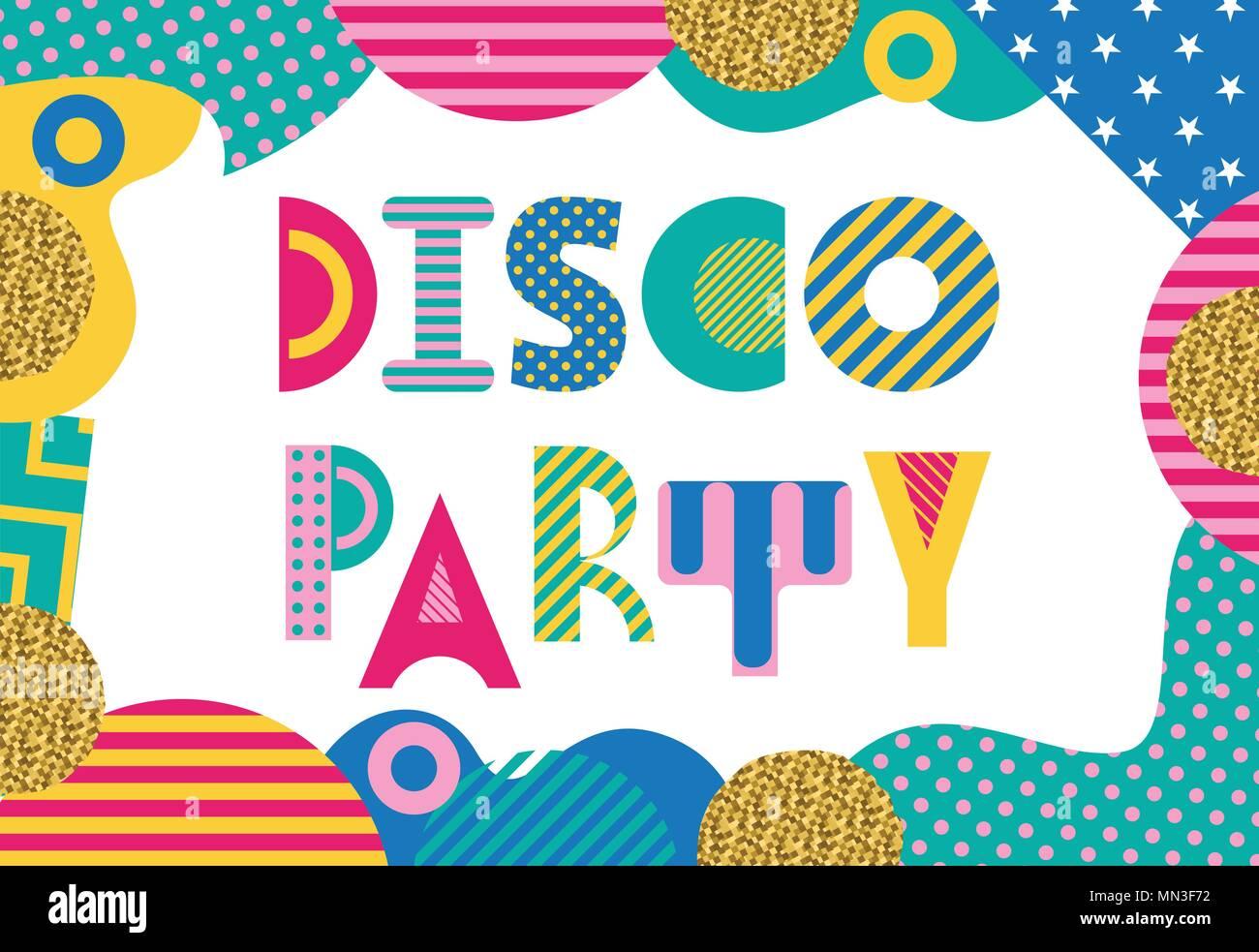 DISCO PARTY. Trendy geometrische Schrift in Memphis Stil der 80s-90s ...