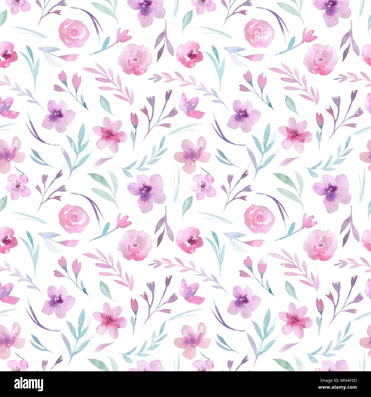 Aquarell floralen Muster. Nahtlose Muster mit lila, gold und rosa Blumenstrauß auf weißem Hintergrund. Blumen, Rosen, Pfingstrosen und Blätter Stockbild