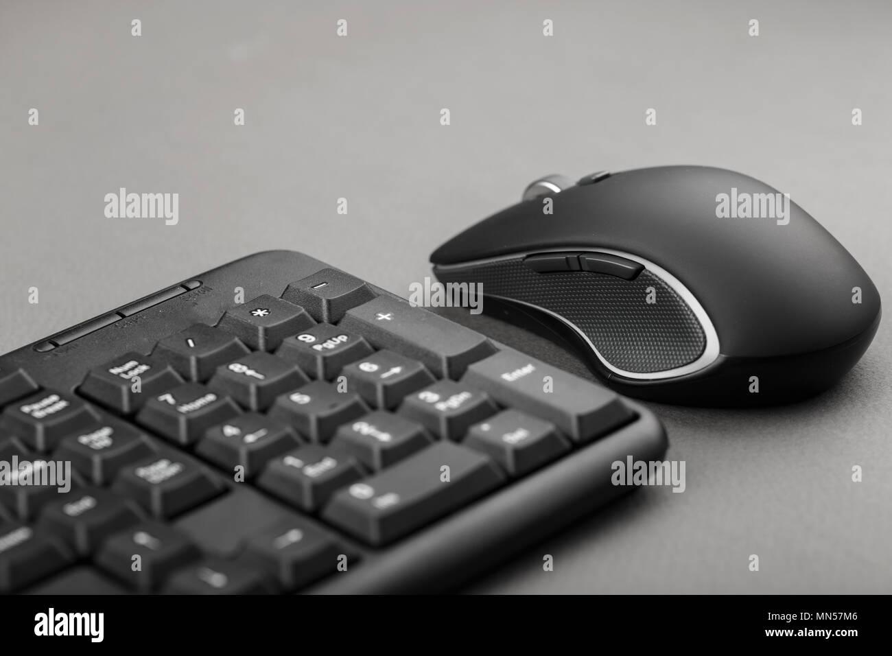 Schwarz Computer Maus In Der Nahe Der Tastatur Buro Und