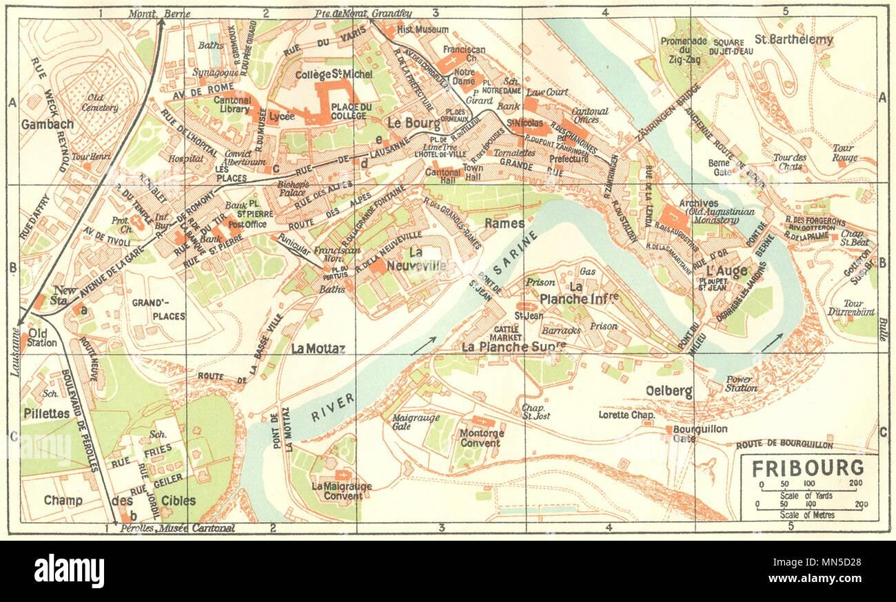 Freiburg Schweiz Karte.Die Schweiz Fribourg 1930 Alte Vintage Karte Plan Plan