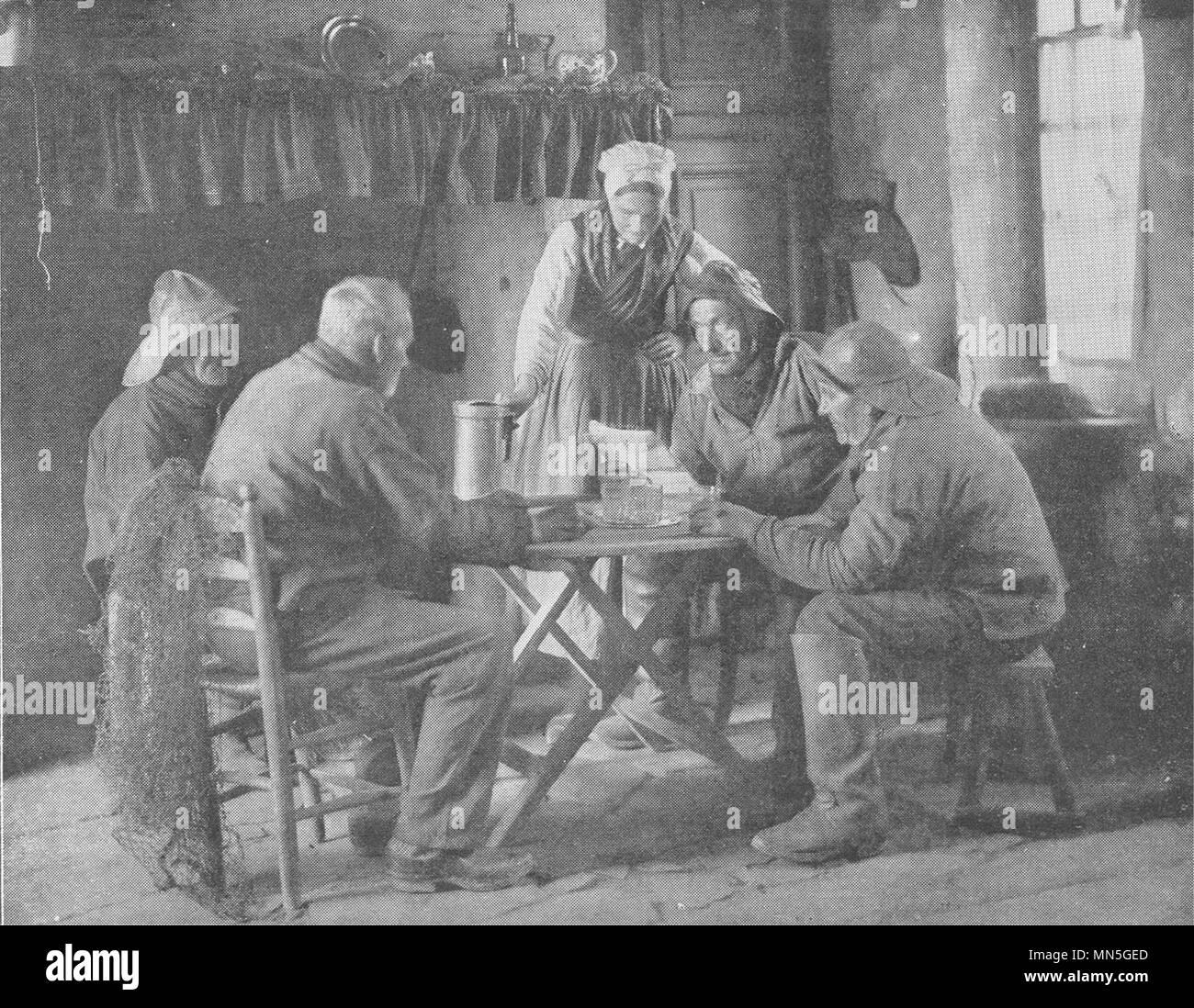 Frankreich. Un Intérieur de pêcheurs 1900 alte antike vintage Bild drucken Stockbild