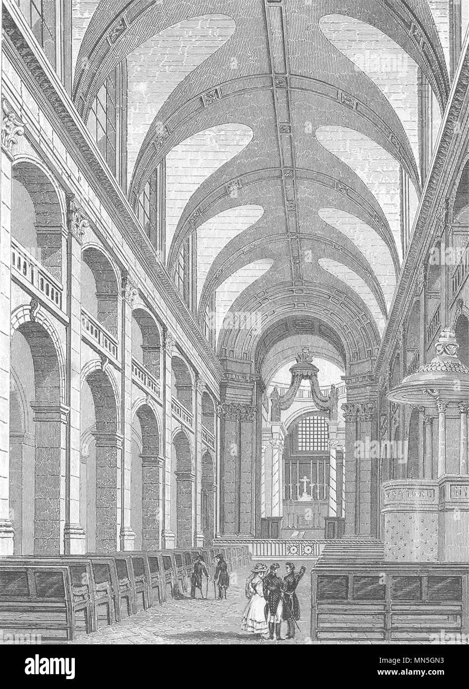 PARIS. L'Interieur de la Chapelle des Invalides 1831 alte antike Bild drucken Stockbild