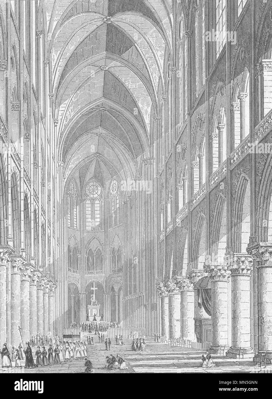 PARIS. Interieur de la Chapelle Val de Grace 1831 alte antike Bild drucken Stockbild