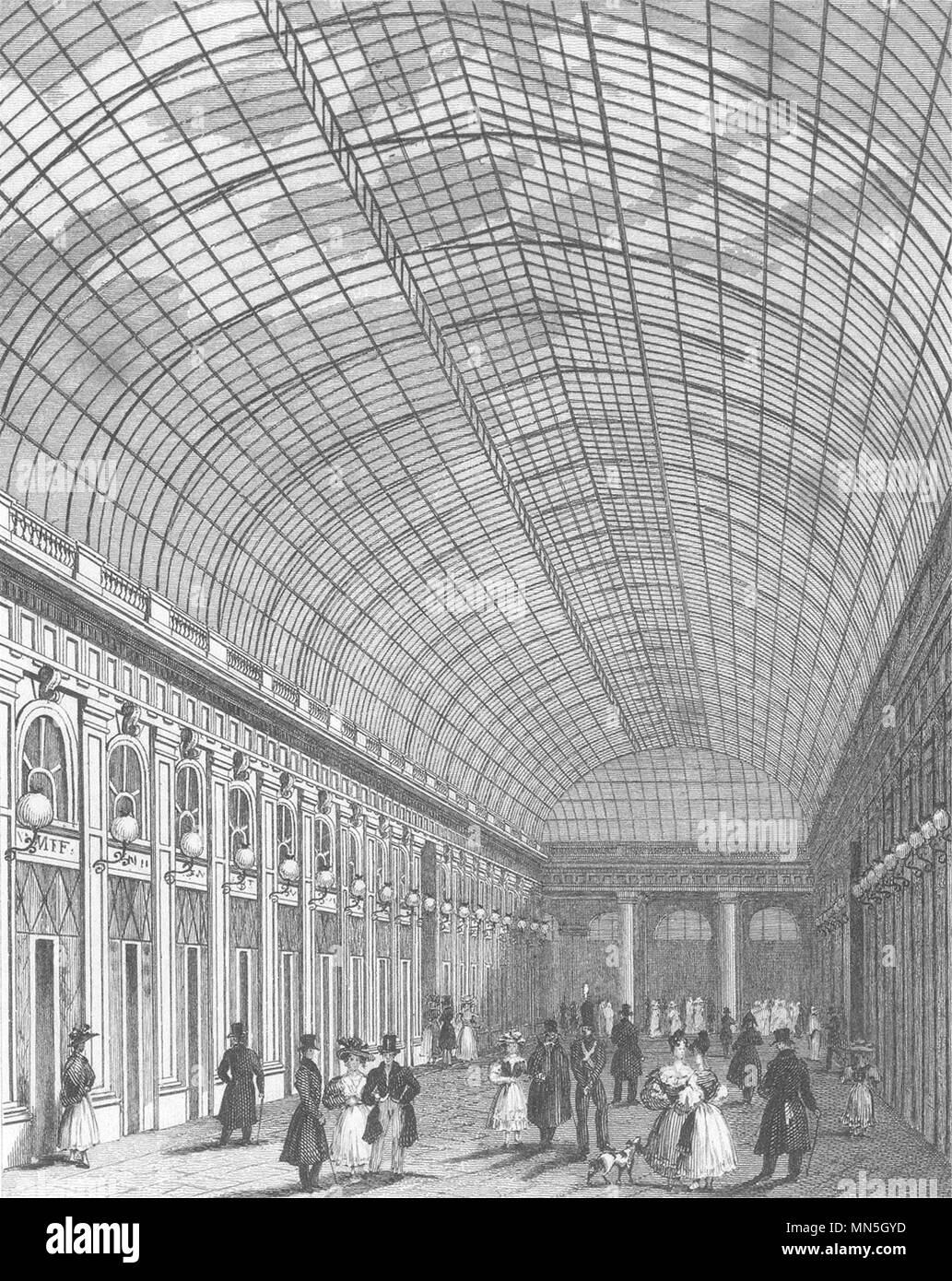 PARIS. Interieur de la Galerie du Palais Royal 1831 alte antike Bild drucken Stockbild
