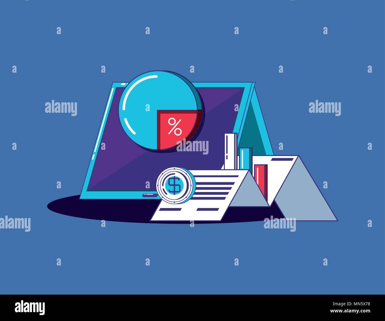 Tablet mit finanziellen Verwandte Symbole über blauen Hintergrund, farbenfrohen Design. Vector Illustration Stockbild