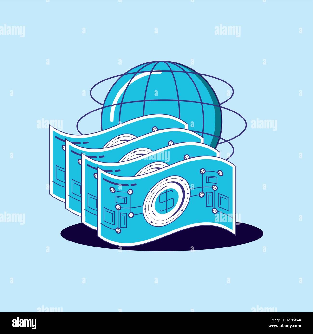 Finanzielle Technik Design mit Geldscheinen globale Sphäre über blauen Hintergrund, farbenfrohen Design. Vector Illustration Stockbild