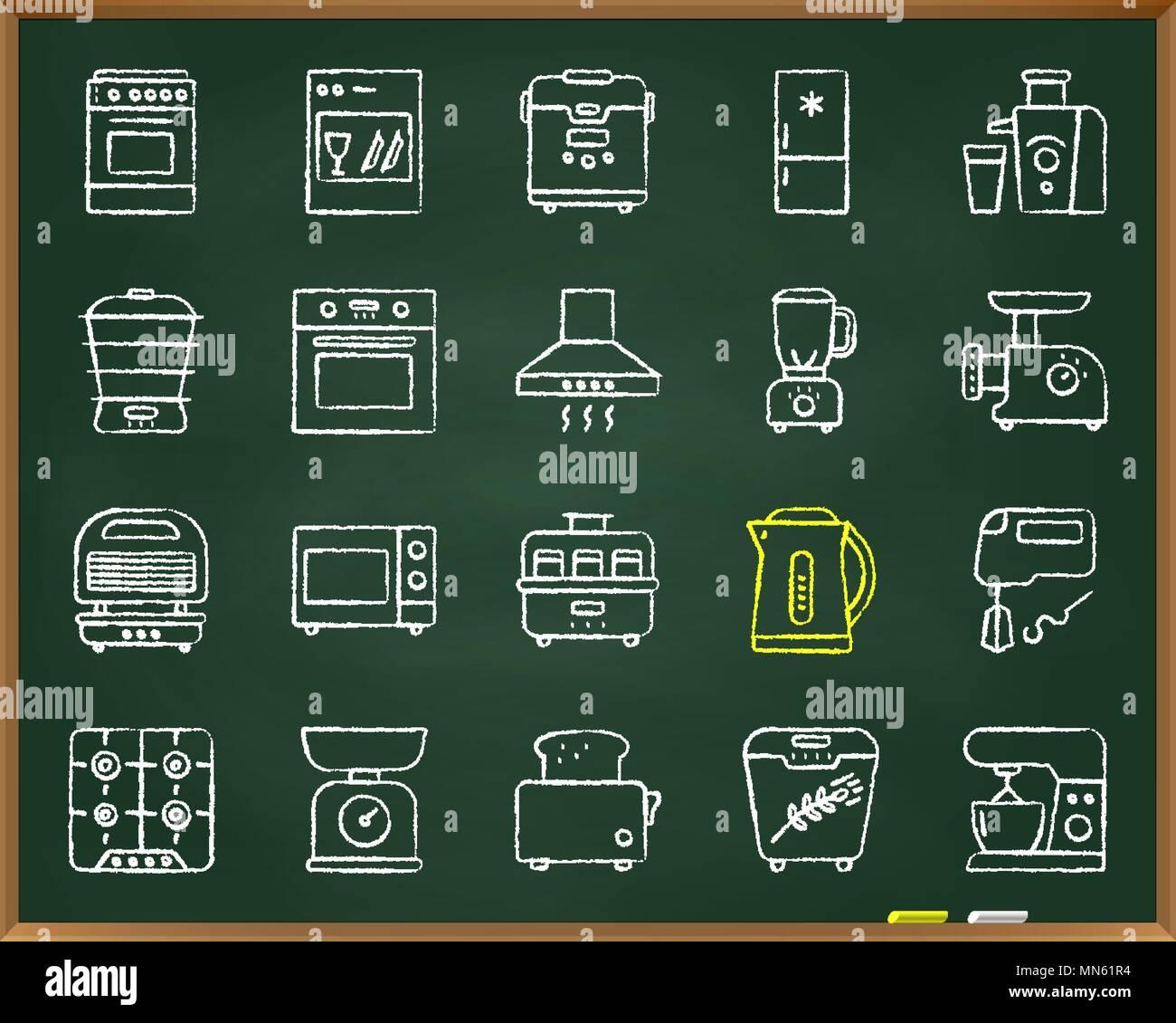 Kuchengerate Chalk Symbole Gesetzt Uberblick Web Sign Kit Der