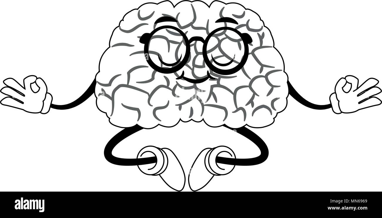 Lustige Gehirn Maschine Cartoon Yoga Auf Die Farben Schwarz Und Weiss