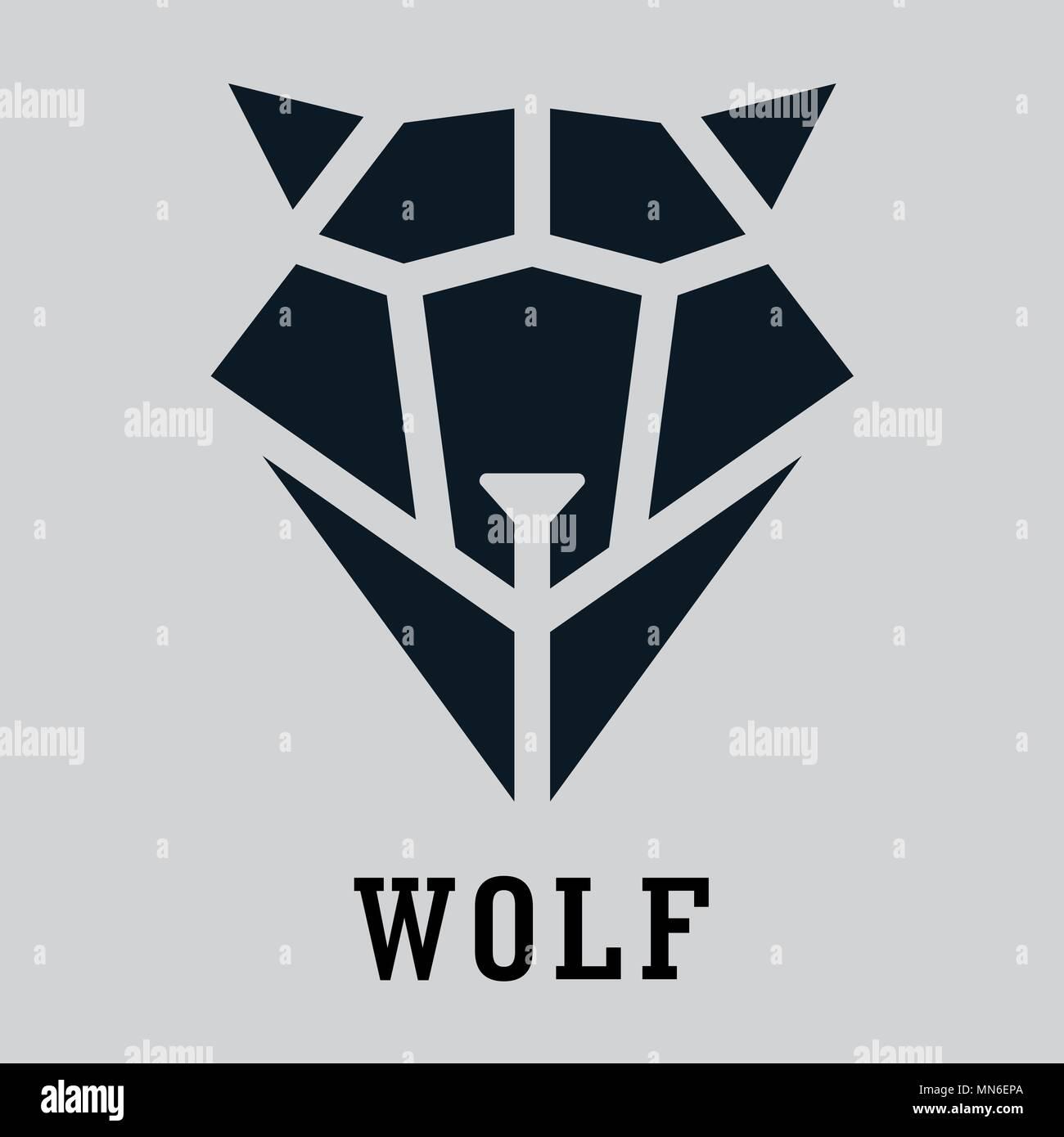 Wolfskopf geometrischen Stil. Polygonale dreieckige Tier Vector Illustration Stockbild