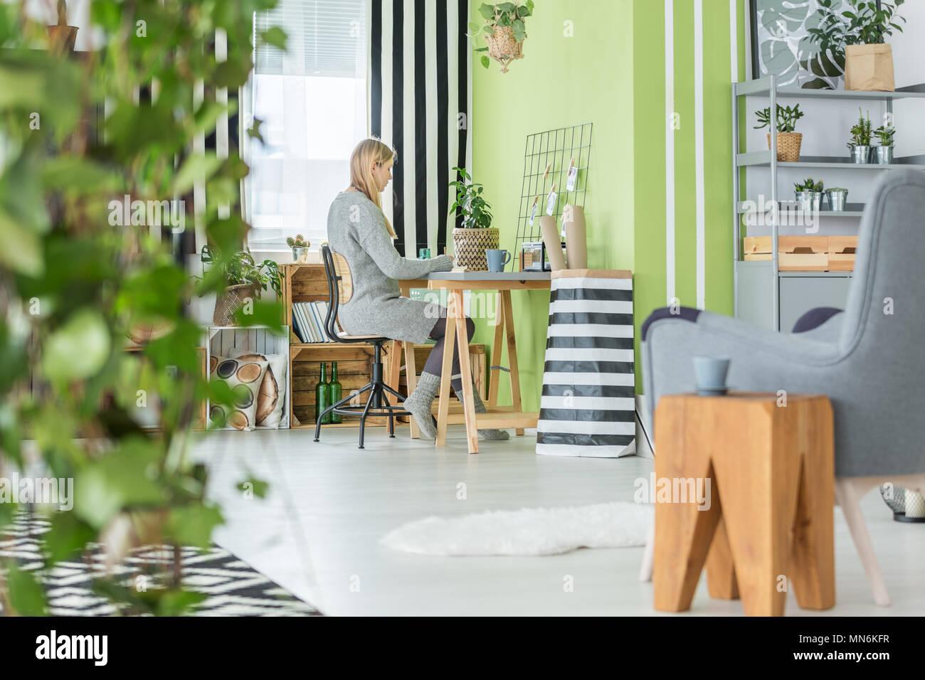 Funktionale Green Home Buro Und Wohnzimmer Kombiniert Stockfotografie Alamy