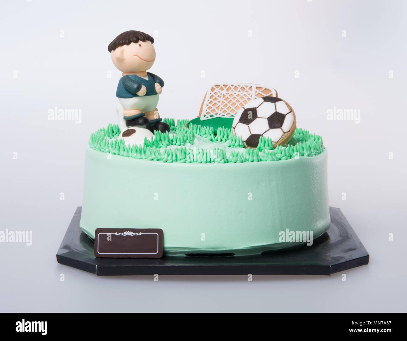 Kuchen Oder Fussball Kuchen Auf Einem Hintergrund Stockfoto