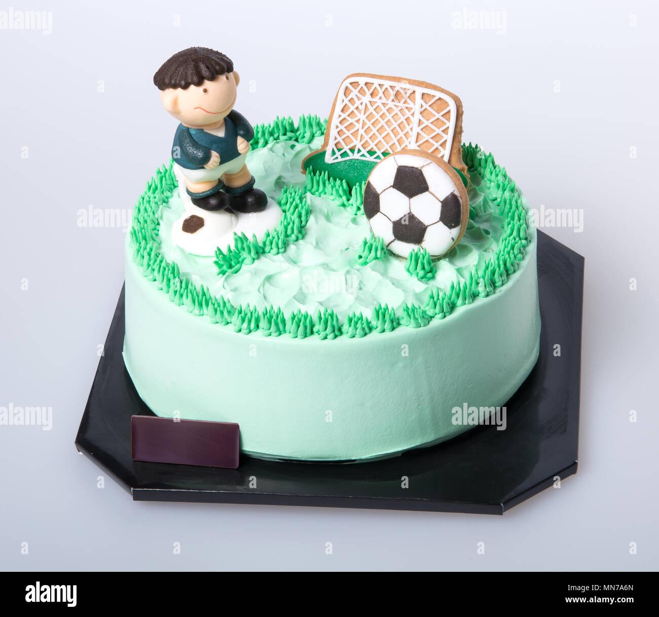 Kuchen Oder Fussball Kuchen Auf Einem Hintergrund Stockfoto Bild